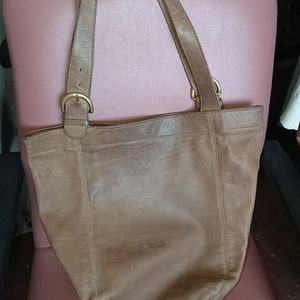 Large Coach bucket tote bag brown leather 14x17x6""